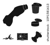 garbage and waste black icons...   Shutterstock .eps vector #1091581613