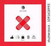 cross adhesive bandage  medical ... | Shutterstock .eps vector #1091618993