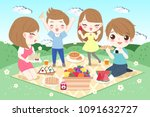 cute cartoon family feel happy...   Shutterstock .eps vector #1091632727