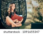 summer girl reading a novel... | Shutterstock . vector #1091655347