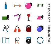 solid vector icon set   barbell ... | Shutterstock .eps vector #1091673533