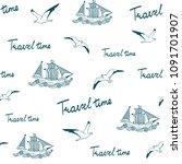travel time seamless pattern.... | Shutterstock .eps vector #1091701907