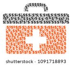 first aid toolbox mosaic of... | Shutterstock .eps vector #1091718893