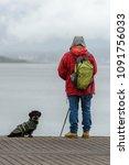 man on a fishing trip on a pier ...   Shutterstock . vector #1091756033