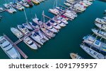 aerial view of yacht marina | Shutterstock . vector #1091795957