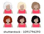 set wavy hair of medium length... | Shutterstock .eps vector #1091796293