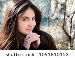 girl with perfect skin on a... | Shutterstock . vector #1091810153