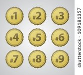 vector gold pressed number... | Shutterstock .eps vector #109181357