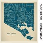 modern city map   baltimore... | Shutterstock .eps vector #1091817047