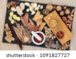 chinese herbal medicine with... | Shutterstock . vector #1091827727