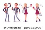 young man and woman selfie and... | Shutterstock .eps vector #1091831903