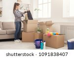 new home cleaning. young woman... | Shutterstock . vector #1091838407