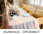 wedding table setting with... | Shutterstock . vector #1091838617