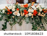 wedding table setting with... | Shutterstock . vector #1091838623