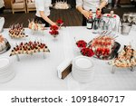 different kind of cheese on... | Shutterstock . vector #1091840717