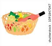 vector illustration wicker... | Shutterstock .eps vector #1091847047