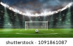 ball on the green field in... | Shutterstock . vector #1091861087