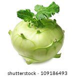 Cabbage kohlrabi on white background - stock photo