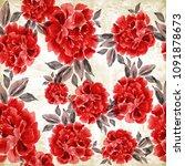 peony. seamless background....   Shutterstock . vector #1091878673