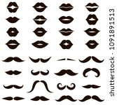 set of black mustaches and lips ... | Shutterstock .eps vector #1091891513
