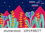 vector illustration with alien... | Shutterstock .eps vector #1091938277