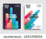 electronic music poster. modern ... | Shutterstock .eps vector #1091958503
