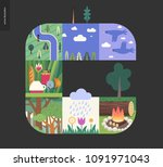 simple things   forest set on a ... | Shutterstock .eps vector #1091971043