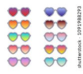 set of heart sunglasses. vector ... | Shutterstock .eps vector #1091988293