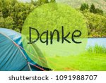 lake camping  danke means thank ... | Shutterstock . vector #1091988707