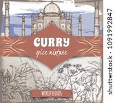 curry spice mixture template... | Shutterstock .eps vector #1091992847