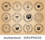 round postage stamps happy...   Shutterstock .eps vector #1091994233