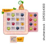 sudoku game for children with... | Shutterstock .eps vector #1092014303
