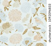 seamless pattern with birds and ... | Shutterstock .eps vector #1092096833