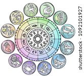 astrology horoscope circle with ... | Shutterstock . vector #1092101927