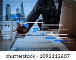 project manager working and... | Shutterstock . vector #1092112607