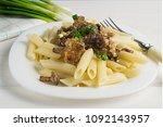 pasta with wild mushrooms ...   Shutterstock . vector #1092143957