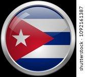 cuban flag glass button vector... | Shutterstock .eps vector #1092161387