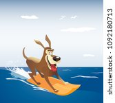 dog on surf board. colorful... | Shutterstock .eps vector #1092180713
