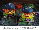 fresh chickpea vegan burgers... | Shutterstock . vector #1092187457