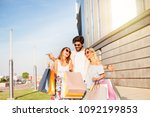 rich young man with two girls... | Shutterstock . vector #1092199853