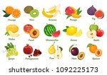set of fruits isolated on white ... | Shutterstock .eps vector #1092225173