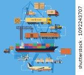 freight transport and logistics ... | Shutterstock .eps vector #1092243707