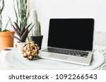 laptop  protea flower and... | Shutterstock . vector #1092266543