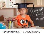 girl  learning at kindergarten... | Shutterstock . vector #1092268547