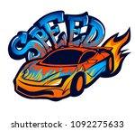 speed sport car with fire. text ...   Shutterstock .eps vector #1092275633