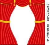 curtains with lambrequins on... | Shutterstock .eps vector #1092286253