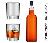 whisky bottle glass imockup set.... | Shutterstock .eps vector #1092312023