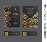 luxury wedding invitation or...   Shutterstock .eps vector #1092314987