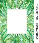watercolor frame with tropic... | Shutterstock . vector #1092325313