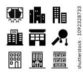 filled set of 9 buildings icons ... | Shutterstock .eps vector #1092328733